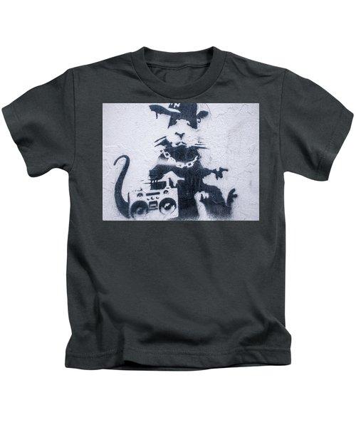Kids T-Shirt featuring the photograph Banksy's Gansta Rat by Gigi Ebert