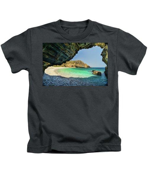 Almiro Beach With Cave Kids T-Shirt