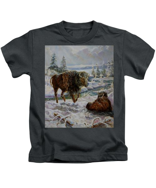 Bison In Yellowstone In The Winter Kids T-Shirt