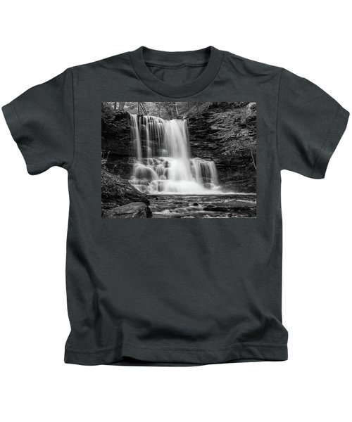 Black And White Photo Of Sheldon Reynolds Waterfalls Kids T-Shirt