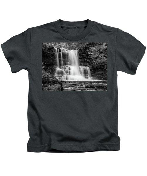 Black And White Photo Of Sheldon Reynolds Waterfalls Kids T-Shirt