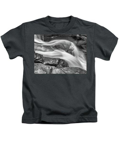 Black And White Rushing Water Kids T-Shirt