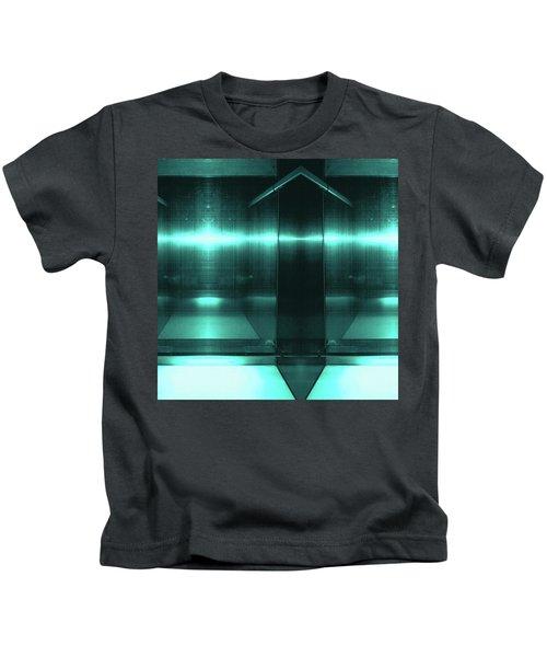 Blue Aluminum Surface. Metallic Fashion Geometric  Background Kids T-Shirt