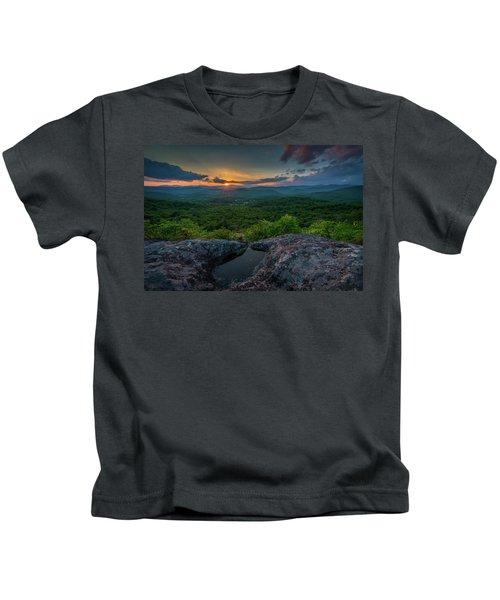 Blue Ridge Mountain Sunset Kids T-Shirt