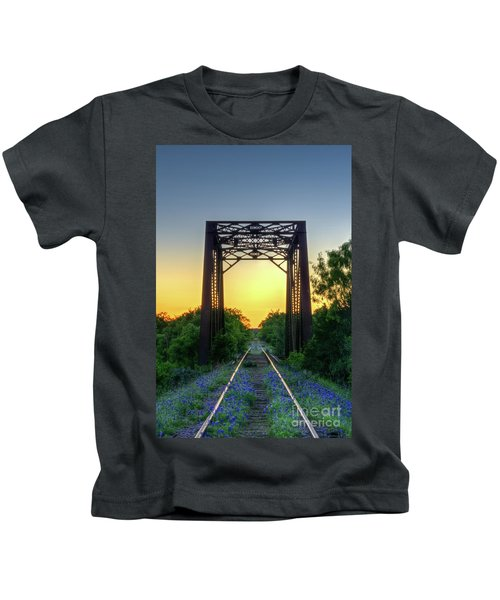 Bluebonnets On The Abandoned Railroad Kids T-Shirt