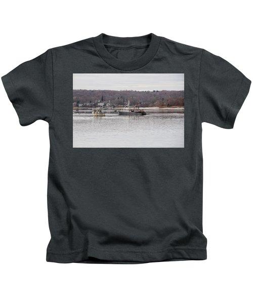 Boats At Northport Harbor Kids T-Shirt