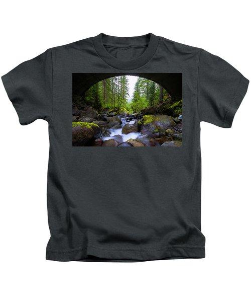 Bridge Below Rainier Kids T-Shirt