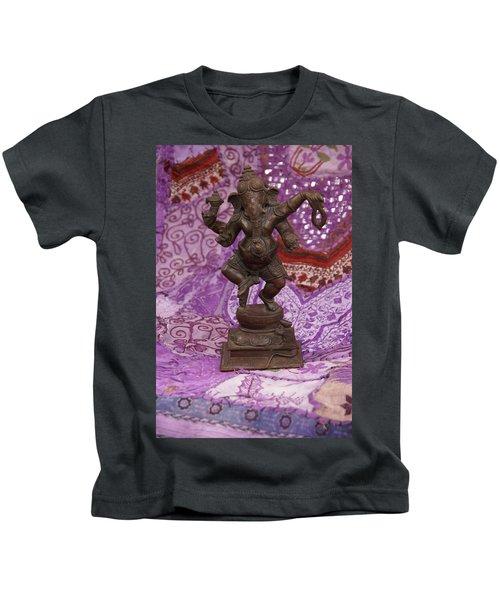 Bronze Ganesha Dancing, On Purple Kids T-Shirt
