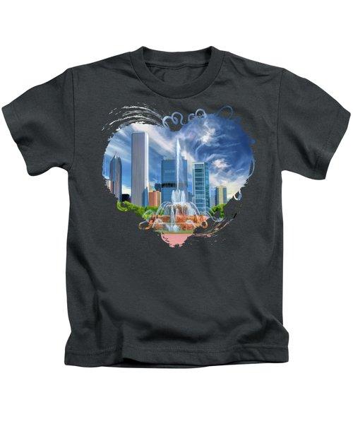 Buckingham Fountain Chicago Skyscrapers Kids T-Shirt