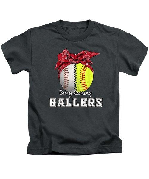 Busy Raising Ballers Softball Baseball T-shirt Baseball Mom Kids T-Shirt