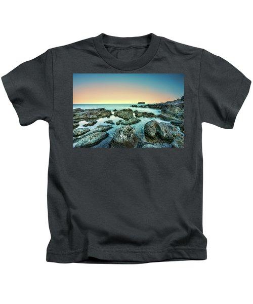 Calm Rocky Coast In Greece Kids T-Shirt