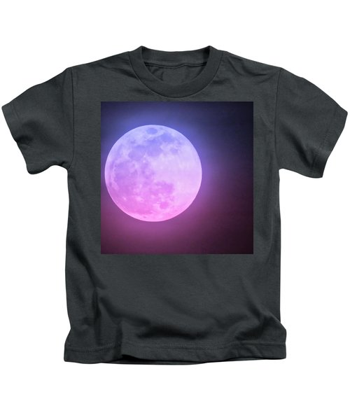 Kids T-Shirt featuring the photograph Cancer Super Wolf Blood Moon Near Eclipse by Judy Kennedy