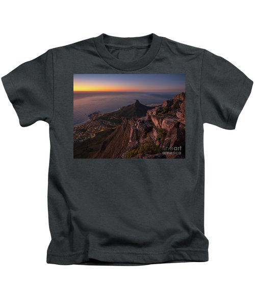 Cape Town Lions Head Sunset From Table Mountain Kids T-Shirt