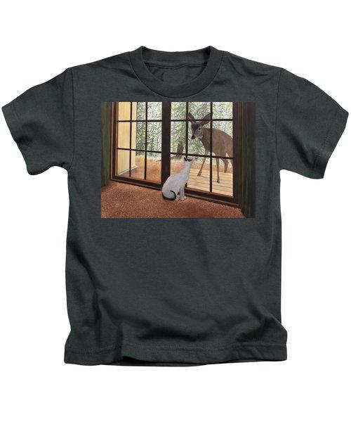 Cat Meets Deer Kids T-Shirt