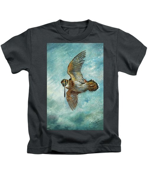 Caught In A Blizzard, Woodcock, 1932 Kids T-Shirt