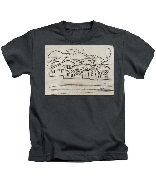 Charcoal Houses Sketch Kids T-Shirt