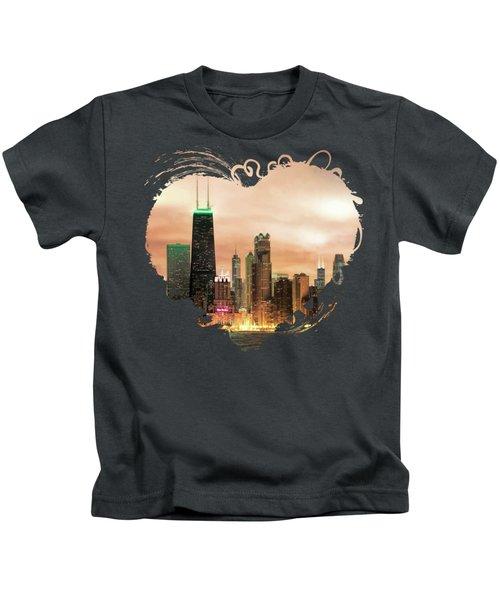Chicago Gotham City Skyline Panorama Kids T-Shirt