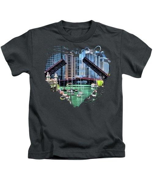 Chicago River Boat Migration Kids T-Shirt