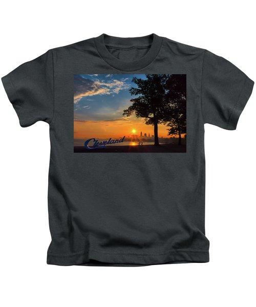 Cleveland Sign Sunrise Kids T-Shirt