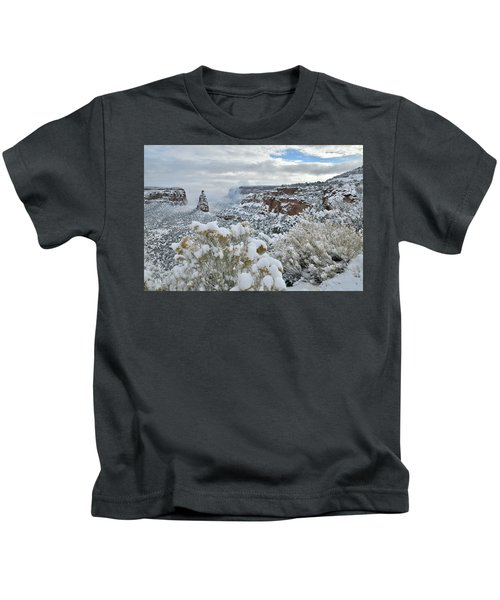 Clouds Break Over Snow Covered Independence Canyon Kids T-Shirt