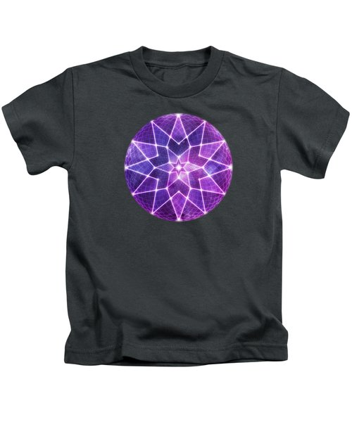 Cosmic Purple Geometric Seed Of Life Crystal Lotus Star Mandala Kids T-Shirt