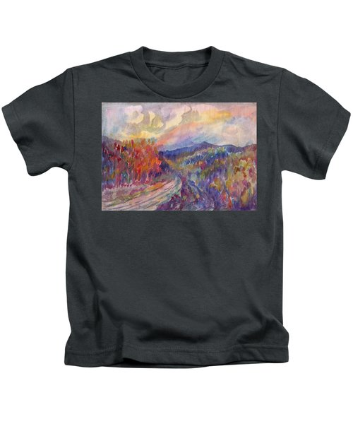 Country Road In The Autumn Forest Kids T-Shirt