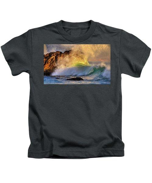 Crashing Wave Leo Carrillo Beach Kids T-Shirt