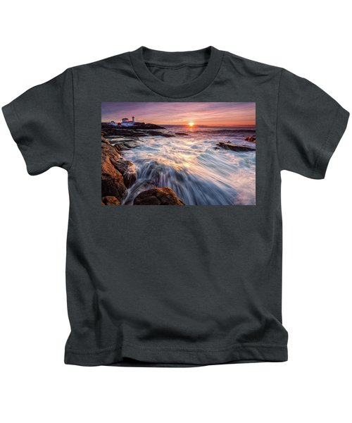 Crashing Waves At Sunrise, Nubble Light.  Kids T-Shirt
