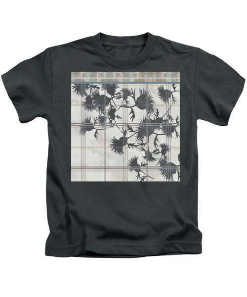 Cream Thistle Plaid Contrast Border Kids T-Shirt