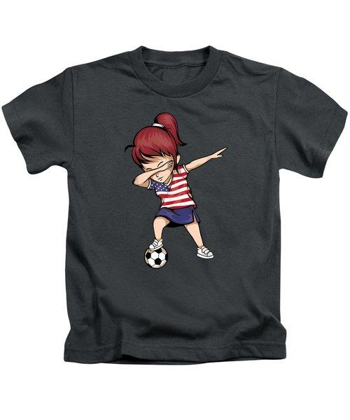 Dabbing Soccer Girl United States Jersey Shirt Usa Football Kids T-Shirt
