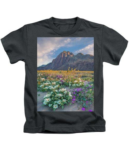 Desert Sand Verbena, Desert Sunflower Kids T-Shirt