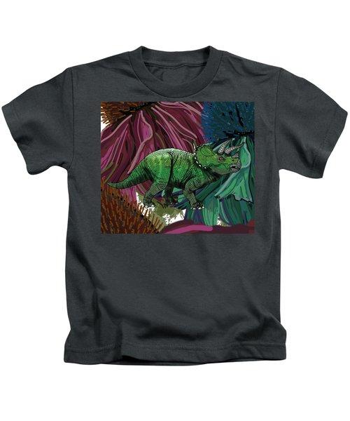 Dinosaur Triceratops Flowers Kids T-Shirt