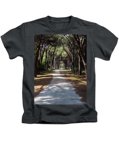Dirt Pathway In A Mediterranean Pine Forest Kids T-Shirt