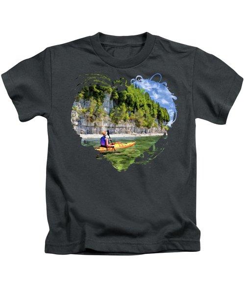 Door County Kayaking Around Rock Island State Park Kids T-Shirt