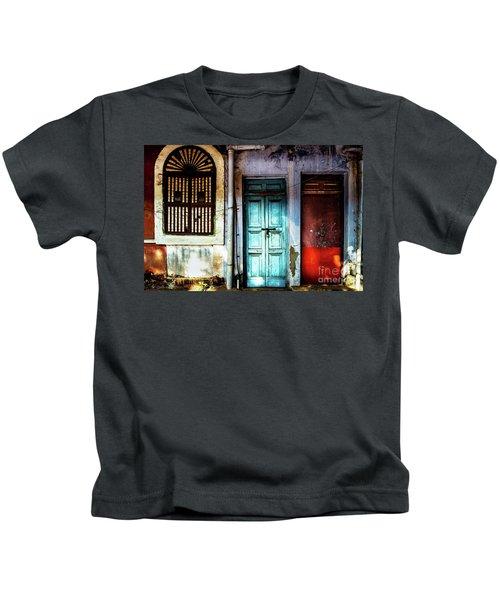 Doors Of India - Blue Door And Red Door Kids T-Shirt