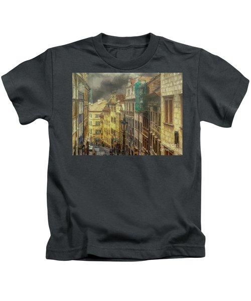 Downhill, Downtown, Prague Kids T-Shirt