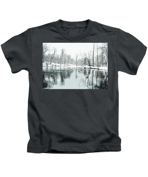 Ducks Swimming In Winter Kids T-Shirt