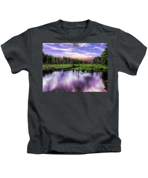 Dusk Falls Over New England Beaver Pond. Kids T-Shirt