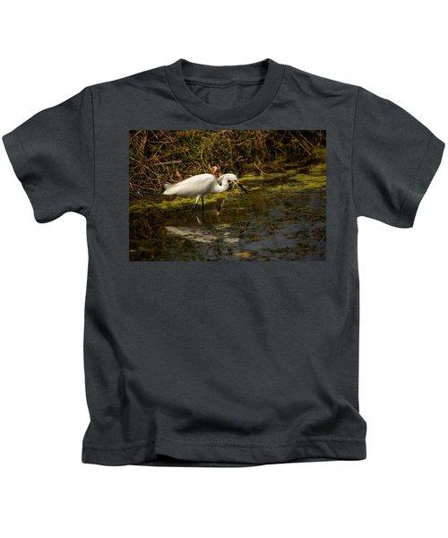 Egret Hunts Kids T-Shirt