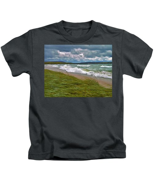 Field Of Green On Lake Superior Kids T-Shirt