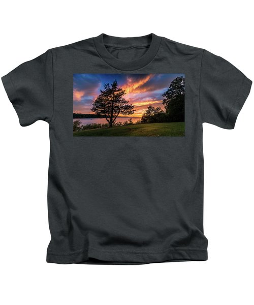 Fishing At End Of Day Kids T-Shirt