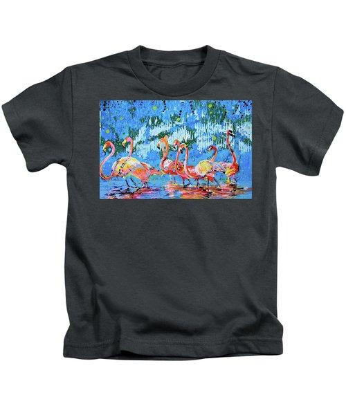 Flamingo Pat Party Kids T-Shirt