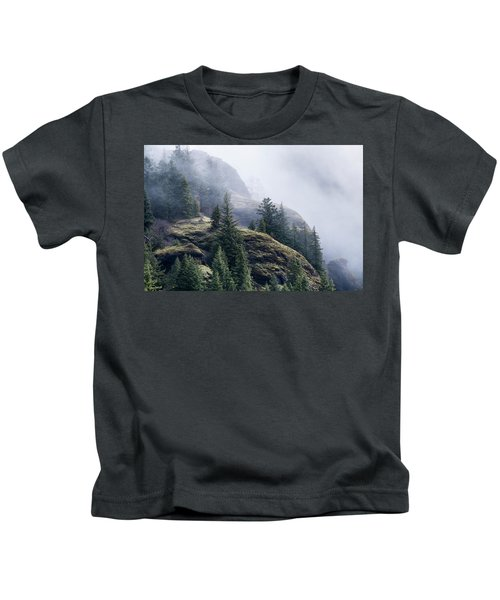 Foggy On Saddle Mountain Kids T-Shirt
