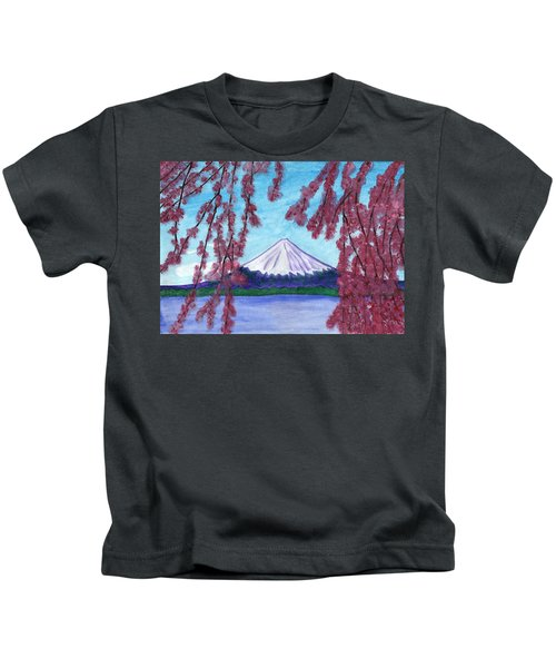 Sakura Blooming On The Background Of A Snowy Mountain Kids T-Shirt