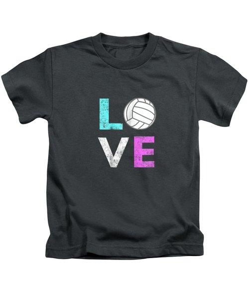 Girls Love Volleyball Best Fun Birthday Gift Tshirt Kids T-Shirt