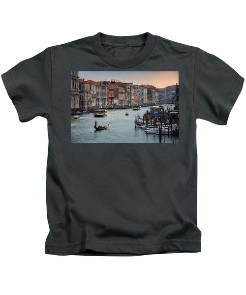 Grand Canal Gondolier Venice Italy Sunset Kids T-Shirt