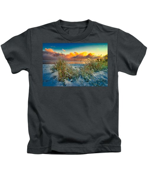 Grass And Snow Sunrise Kids T-Shirt