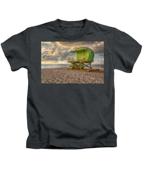 Green Lifeguard Stand Kids T-Shirt