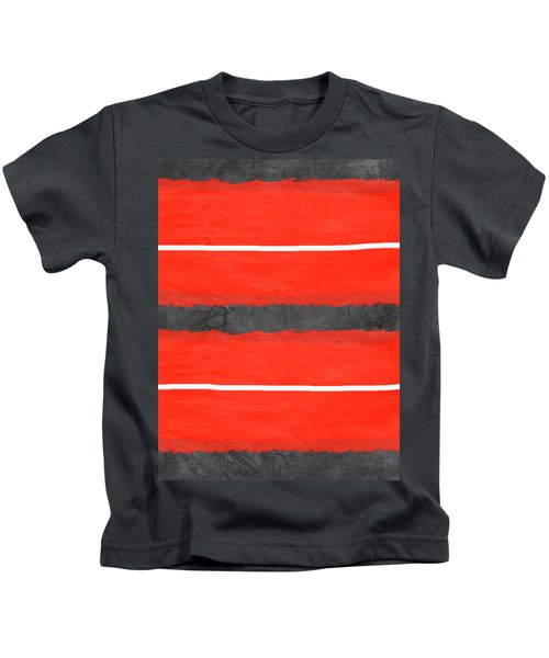 Grey And Red Abstract IIi Kids T-Shirt
