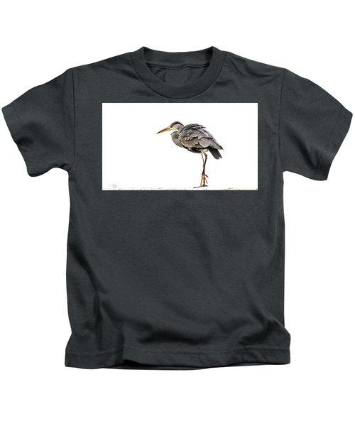 Grey Heron On Snow Kids T-Shirt